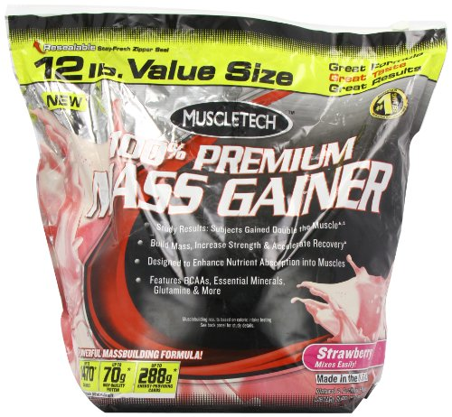 Muscletech 100% Premium Mass Gainer – Strawberry, 1er Pack (1 x 5.44 kg)