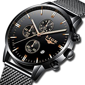 Uhren-fr-Mnner-Herren-Uhr-Edelstahl-Sport-Analog-Quarz-Herrenuhr-Wasserdicht-Metallband-Schwarz-Mode-Kleid-Armbanduhr-Mann