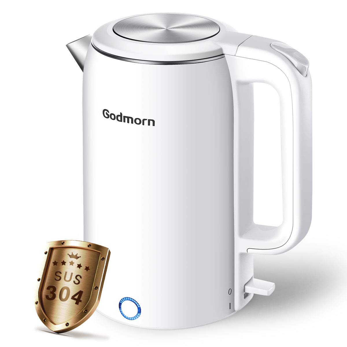 Wasserkocher-Godmorn-Elektrischer-Doppelwandiger-Wasserkessel-18L-Edelstahl-Teekocher-Abschaltautomatik-Trockengehschutz-Kabellos-Kalkfilter-1500-Watt-BPA-Free-Wei