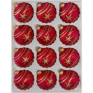 12-tlg-Glas-Weihnachtskugeln-Set-in-Ice-Rot-Gold-Komet-Christbaumkugeln-Weihnachtsschmuck-Christbaumschmuck