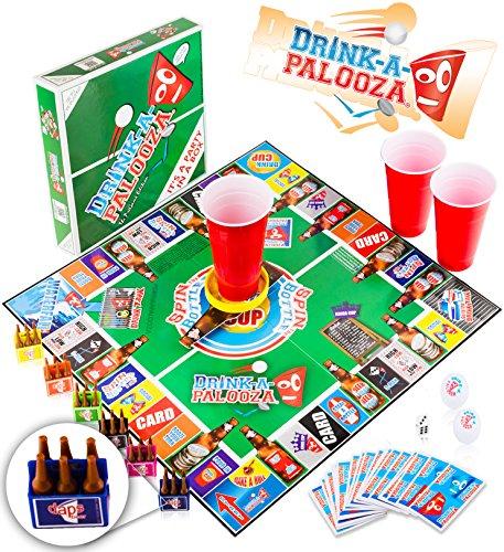 DRINK-A-PALOOZA-Brettspiel-verbindet-old-school-new-school-trinkspiele-Erwachsene-Spiele-mit-Bier-Pong-Flip-Cup-Knige-Kartespiel-die-besten-Party-Spiele-fr-Erwachsene