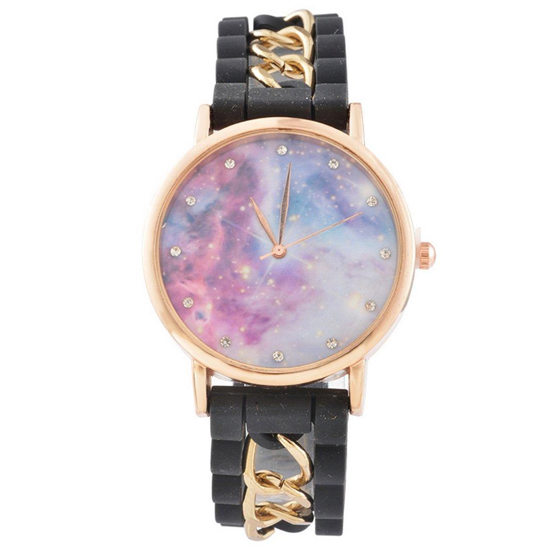 MJARTORIA-Damen-Galaxy-Motiv-Armbanduhr-Elegant-Silikonarmband-mit-Strass-Damenuhr-Analog-Quarz-Uhr-Schwarz