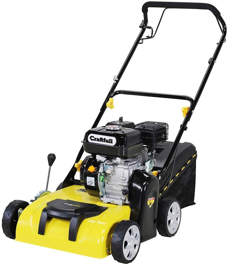 Craftfull-2in1-Vertikutierer-Rasenlfter-Benzin-196-cc-4-Takt-Motor-Easy-Pullstart-Variable-Schnitthhe-Seilzugstarter