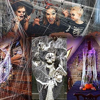 VZATT-Spinnennetz-Halloween-Deko-2-Packs-Halloween-Dekoration-Spinnen-Netz-Deko-Spider-Web-Halloween-KNstliche-Spinnenweben-mit-12-Spinnen-fR-Halloween-Dekoration-Halloween-Party-Spukhaus-Deko