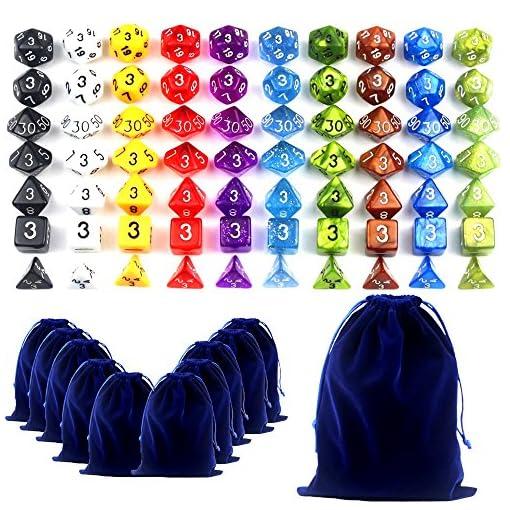 70-Wrfel-10-Seitig-dungeon-dragons-Wrfeln-Farbige-Wrfeln-in-10-Farben-70-Wrfeln-in-10-kleinen-Wrfeln-Beuteln