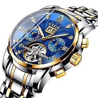 LIGE-Uhren-Herren-Sport-Wasserdicht-30M-Automatische-Maschinen-Uhren-Mode-Datum-Edelstahl-Gold-Blau-Business-Armbanduhr-Kasten