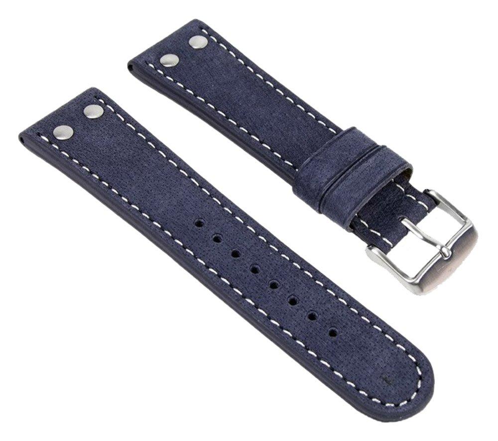 Wasserbffel-Ersatzband-Uhrenarmband-Leder-20mm-Blau-19118S