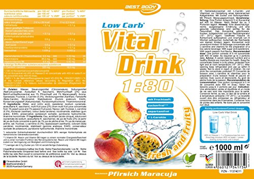 Best Body Nutrition – Low Carb Vital Drink, Pfirsich-Maracuja, 1000 ml Flasche