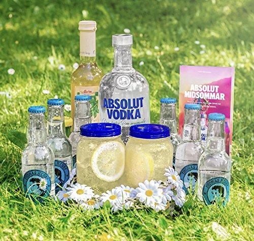 Absolut-Midsommar-I-Alkohol-Partyset-zum-Mixen-Absolut-Original-Thomas-Henry-Soda-Water-und-Darbo-Holunderbltensirup-Midsommar-Zubehr-Mason-Jar-Glser-Strohhalme-und-Blumenkrnze