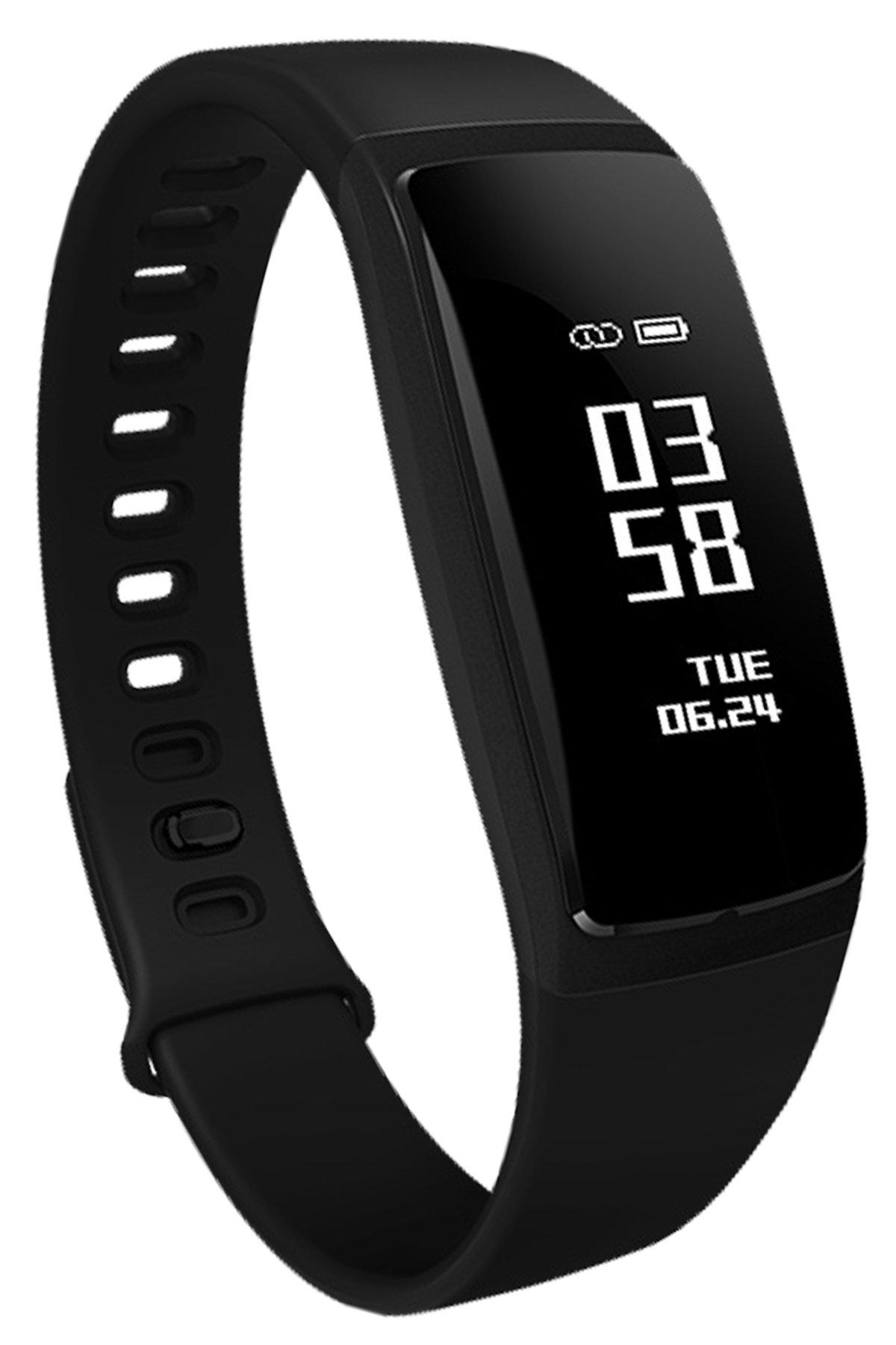 Loluka-Unisex-Fitness-Tracker-Digital-Quarz-Silikon-Sportuhr-Stoppuhr-Wasserdicht-Kontinuierliche-Herzfrequenz-Smartwatch-Android-IOS-Schwarz