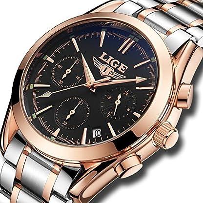 Uhren-Herren-Analog-Quarz-Edelstahl-Wasserdicht-Uhr-Luxus-marke-LIGE-Business-Mode-Lssig-Sport-Chronograph-Rose-Gold-Schwarz-Armbanduhr