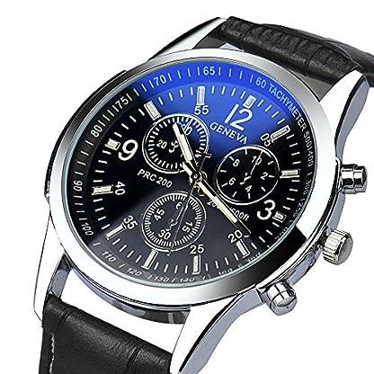 Hansee-Genossen-Luxus-Mode-Kunstleder-Herren-Blue-Ray-Glas-Quartz-Analog-Uhren
