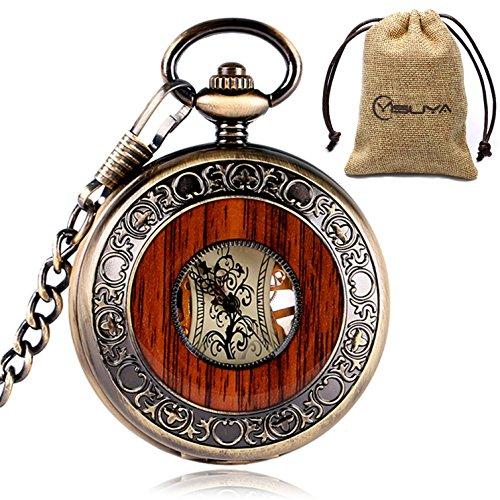 yisuya-Holz-Taschenuhr-durchsichtige-Rckseite-sichtbares-Uhrwerk-Mechanische-Uhr-Stil-Vintage-Retro-Rmische-Zahlen-mit-Kette-tolles-Geschenk