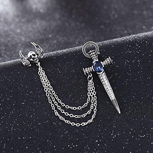 MagiDeal Kreuz Brosche Anstecknadel Kragen Broschen mit Kette Schmuck Geschenk Silber