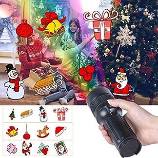 LED-Weihnachtsbeleuchtung-Projektor-Lampe-UNIFUN-Kinder-Projektor-Taschenlampe-Tragbar-mit-Batterie-Weihnachtsdeko-Licht-Projektor-fr-GartenPartyWeihnachtenAuen-Innen