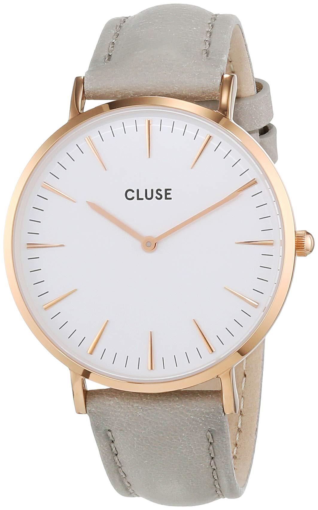 Cluse-Damen-Armbanduhr-Analog-Quarz-Leder-Grau-CL18015