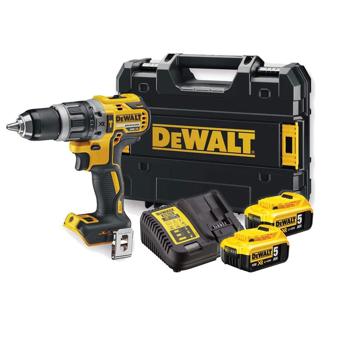 DeWalt-Akku-Schlagbohrschrauber-18-V-5-Ah-mit-LED-Arbeitslicht-brstenlose-Motor-Technologie-zwei-Gang-Vollmetallgetriebe-inkl-2x-Akkus-System-Schnellladegert-und-Tstak-Box-DCD796P2