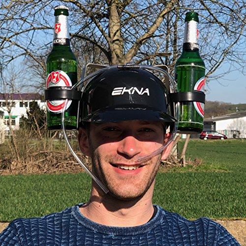 Trinkhelm-Bierhelm-schwarz-mit-Getrnkehaltern-fr-Dosen-und-Flaschen-zum-Mischen-oder-schnell-trinken-Der-Gag-fr-jede-Party-Trinken-mit-Spa-von-EKNA