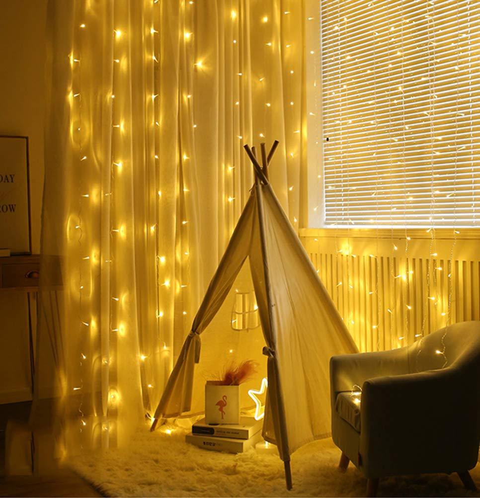 LED-Lichtervorhang-Warmwei-fr-Innen-Auen-Fenster-Weihanchten-Geburtstag-Party-Hochzeit-IP44-31V-Niederspannung-8-Lichtmodi-300er-LEDs-Lichterkette-3M-x-3M-Weihnachtsbeleuchtung