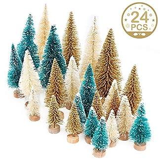 Junejour-24-Stcke-Miniatur-Flaschenbrste-Bume-Mini-Weihnachtsbume-Tabletop-Bume-Schnee-Ornamente-fr-Weihnachtsfeier-Dekoration