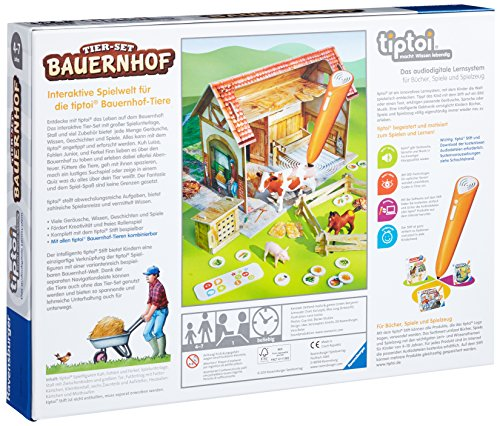 Ravensburger-tiptoi-Tier-Set-Bauernhof-00564-Erkunde-spielerisch-den-Bauernhof-und-kmmere-dich-eigenstndig-um-die-Tiere