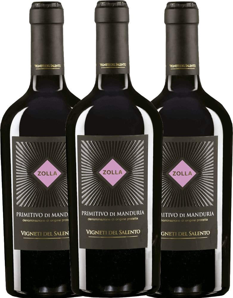 3er-Vorteilspaket-Zolla-Primitivo-di-Manduria-DOP-2017-Vigneti-del-Salento-trockener-Rotwein-italienischer-Wein-aus-Apulien-3-x-075-Liter