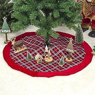 iBaste-2019-Rot-Weihnachtsbaumrock-Karierter-Weihnachtsbaum-Rock-Weihnachtsbaumdecke-Baumdecke-Christbaumstnder-Decke-Weihnachtsschmuck-Weihnachtsdeko-100CM