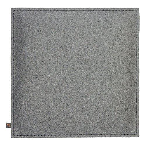 ebos Wollfilz Sitzkissen | 40x40cm, handgefertigt, 100% Wollfilz | Dünn & bequem | Hochwertiges Stuhlkissen, Sitzpolster mit Füllung | Schönes Stuhl-Polster, Filz-Kissen | Robustes Outdoor-Kissen, wasserabweisende Stuhl-Auflage (Jeansblau / Hellgrau)