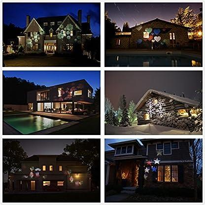 Weihnachten-LED-Effektlicht-LED-Projektor-Lichter-mit-12-Motiven-dynamischstatisch-3-Stufen-Geschwindigkeiten-InnenAuen-IP65