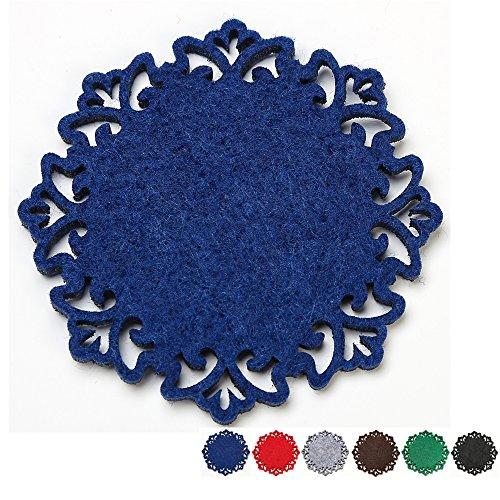 Dulce Cocina Polyester Filz Untersetzer Set von 6 – Home/Haus Dekorationen – Gute Drinks saugfähig – Blau