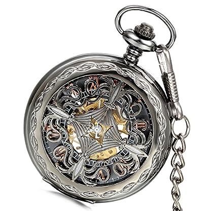 LANCARDO-Taschenuhr-Vintage-Herren-Damen-Uhr-Analog-mit-Metall-Kette-Weihnachten-Geschenk-LCD009P101