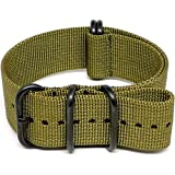 DaLuca-Ballistic-Nylon-NATO-Watch-Strap-Olive-PVD-Buckle-24mm