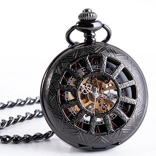 ManChDa-Mnner-Jahrgang-Schwarz-Mechanische-Taschenuhr-Elegante-Graviert-Hohl-Fall-Roman-Ziffern-Golden-Bewegung-mit-Kette-Geschenk-Box