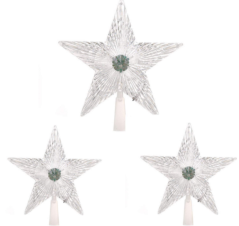UNIQUE-F-Gro-mittel-klein-3-Stck-Christbaumspitze-fnfzackiger-Stern-LED-Dekorationsbeleuchtung-blinkt-bunt