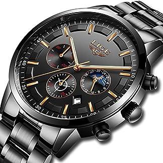 Uhren-fr-Mnner-Herren-Edelstahl-Uhren-Herren-Chronograph-Wasserdicht-Sport-Armbanduhr-Datum-Quarz-Armbanduhr-Klassisches-mit-schwarzem-Zifferblatt