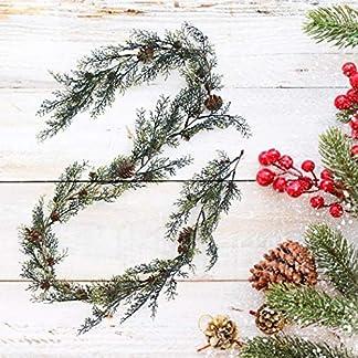 FunPa-Knstliche-Weihnachtsgirlande-57ft-Knstlich-Girlande-Bereifte-Berry-Pinecone-Weihnachten-Deko-fr-Kamin-Treppe-Wand-Tr-Dekoration