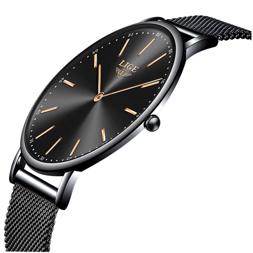 LIGE-Herren-Uhren-Wasserdicht-Mnner-Multifunktional-Chronograph-Armbanduhr-Kalender-Elegant-Schwarz-Quarz-Herrenuhr-fr-Mann-Edelstahl-Mesh-Armband