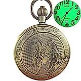 Ogle-Wasserdicht-Bronze-Pferd-Kalender-Datum-Luminous-Kette-Fob-Self-Winding-automatische-Skelett-mechanische-Taschenuhr