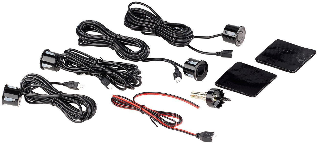 Lescars-Parksensoren-Funk-Rckfahrhilfe-PA-280-fr-Pkw-mit-4-Sensoren-Armaturen-Display-Akustische-Funk-Einparkhilfen