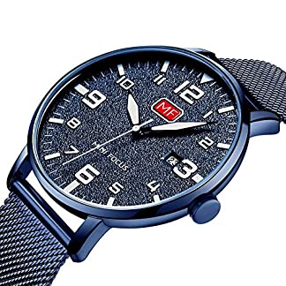 Uhren-Herren-Dnn-Blau-Mesh-Edelstahl-Wasserdicht-Armbanduhr-Herren-Quarz-Armbanduhr-fr-mnner