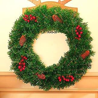 ZXPAG-Kinstlicher-Kranz-Weihnachten-Girlande-Sehne-Kreis-Kunststoff-fr-Tr-und-Fenster-auen-Deko-Wandkranz-Kranz-Girlande