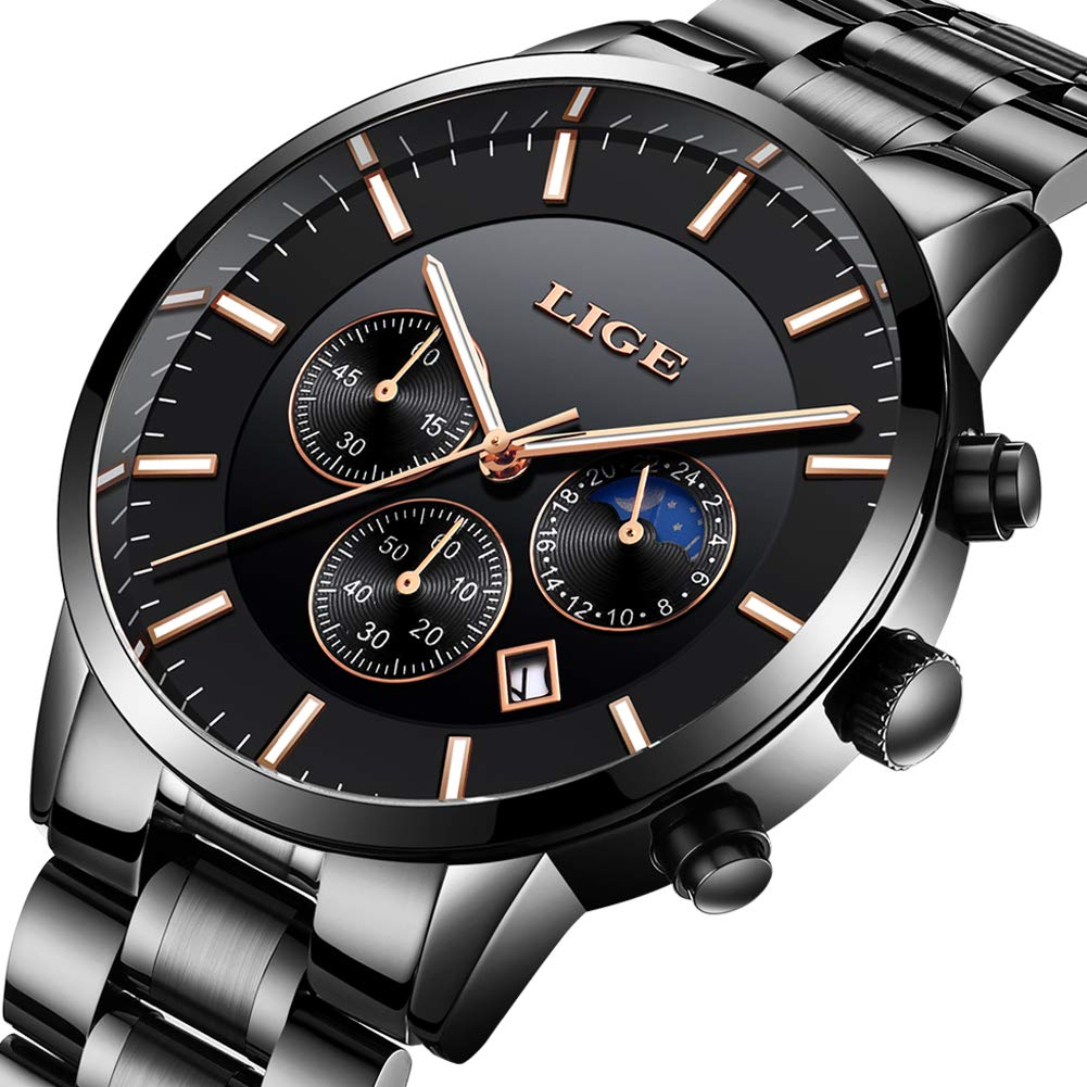 LIGE-Herren-Uhren-Wasserdichte-Edelstahl-Analoge-Quarzuhr-Datum-Geschft-Klassisch-Armbanduhren-schwarz