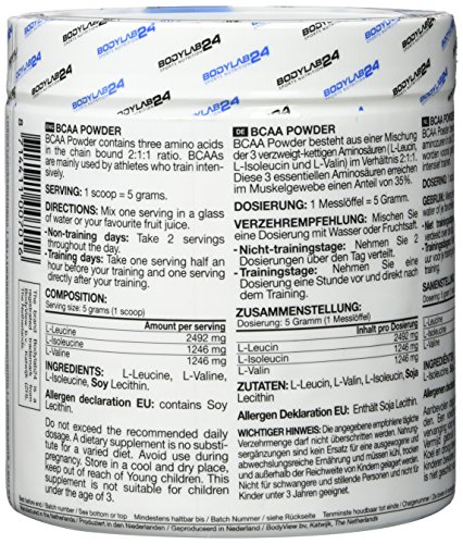 Bodylab24 BCAA Pulver, Aminosäure ohne Zusätze, Leucin, Isoleucin und Valin im Verhältnis 2:1:1, hochdosiertes BCAA Pulver zum Muskelaufbau, 275g Dose