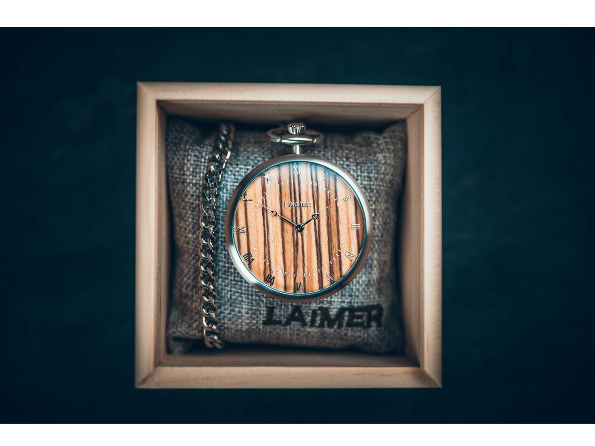 LAiMER-Holzuhr-Taschenuhr-mit-Kette-aus-Edelstahl-und-Zifferblatt-aus-Zebrano