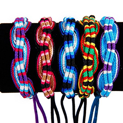 NUOLUX Handgefertigte bunte gerändelte geflochtene Freundschaftsbänder Thread Handgelenk Sprunggelenk Armbänder 9Pcs
