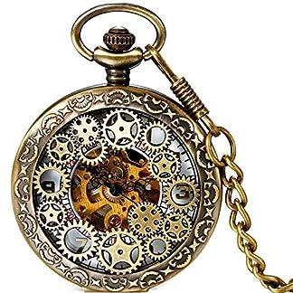 Damen-Herren-Steampunk-Automatik-mechanische-Taschenuhr-Bronze-LANCARDO-Retro-Zahnrad-Ritzel-Mechanische-Kettenuhr-Skelett-Uhr-mit-Halskette-Kette