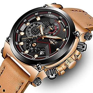 Fashion-Herren-Business-Kleid-Analog-Quarz-Armbanduhr-Luxus-Marke-Sport-wasserdicht-Armbanduhr-Multifunktions-Braun-Echtes-Leder-Uhr-Rose-Gold-Chronograph