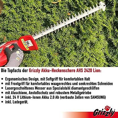 Grizzly-Akku-Heckenschere-AHS-2420-56cm-Messerlnge-52cm-Schnittlnge-Inkl-24-V-Akku-20-Ah-Ladegert-Robustes-Metallgetriebe-Laser-Cut-Messer-Schnell-Stopp-Funktion