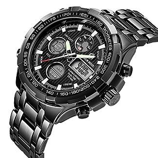 Herren-Digital-Quarz-Analog-Sport-Uhren-fr-Mnner-Chronograph-gro-Edelstahl-wasserdicht-Armbanduhr-in-Schwarz