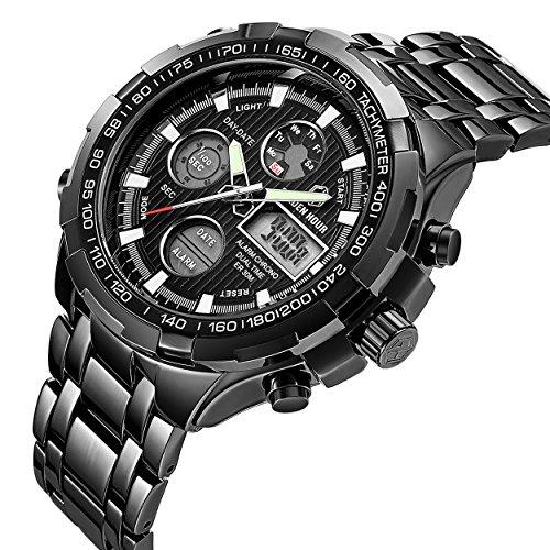 Affute-Luxus-Armbanduhr-fr-Herren-Schwerer-Chronograph-aus-Edelstahl-Wasserdicht-mit-Datums-und-Alarmfunktion-Analog-Digitalanzeige